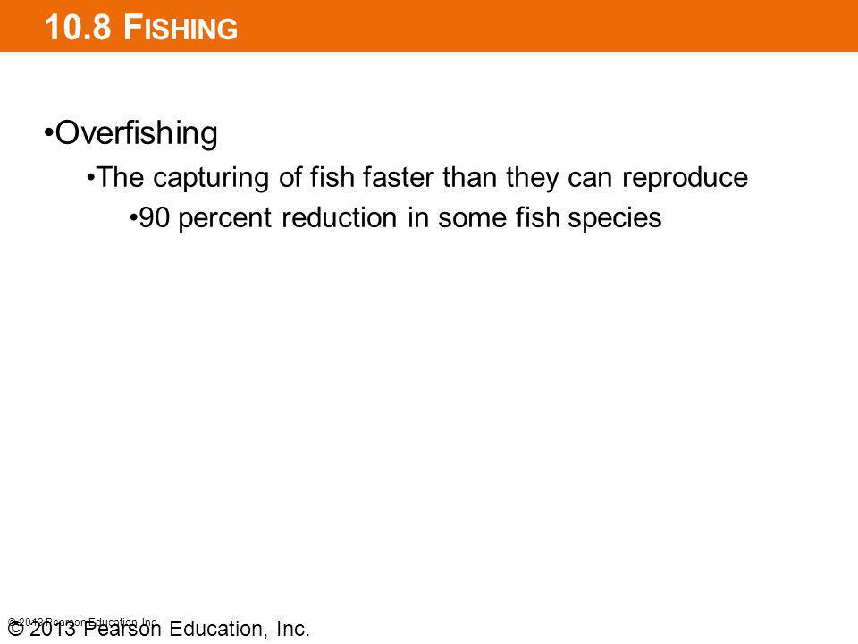 10.8 Fishing Overfishing. The capturing of fish faster than they can reproduce. 90 percent reduction in some fish species.