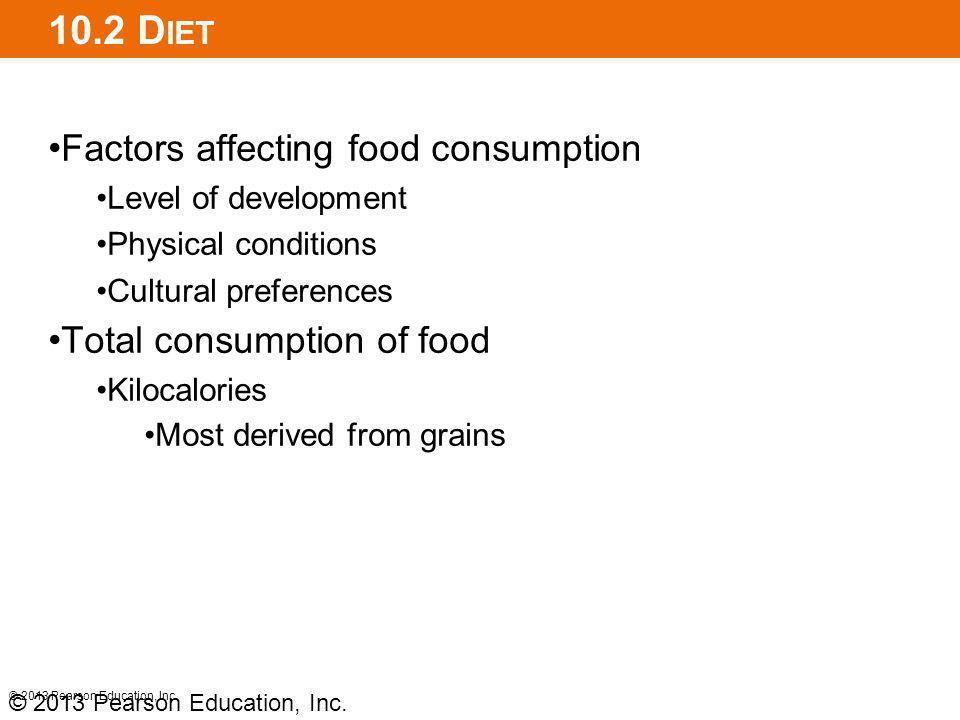 10.2 Diet Factors affecting food consumption Total consumption of food