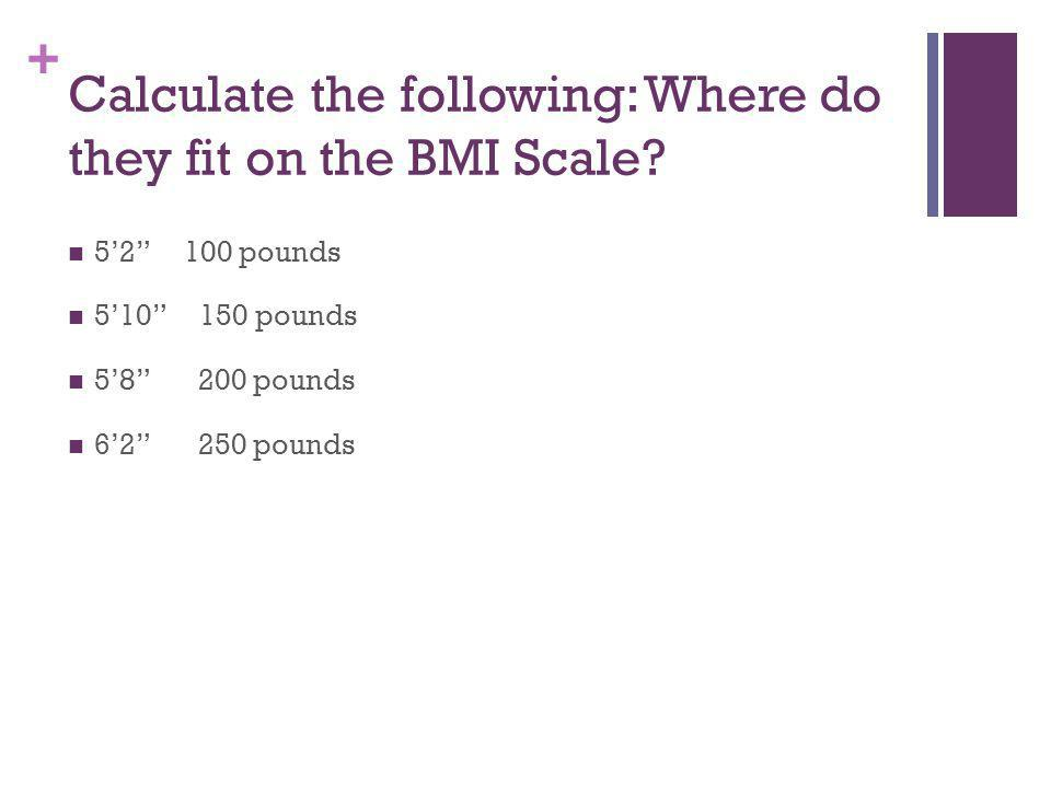 Calculate the following: Where do they fit on the BMI Scale