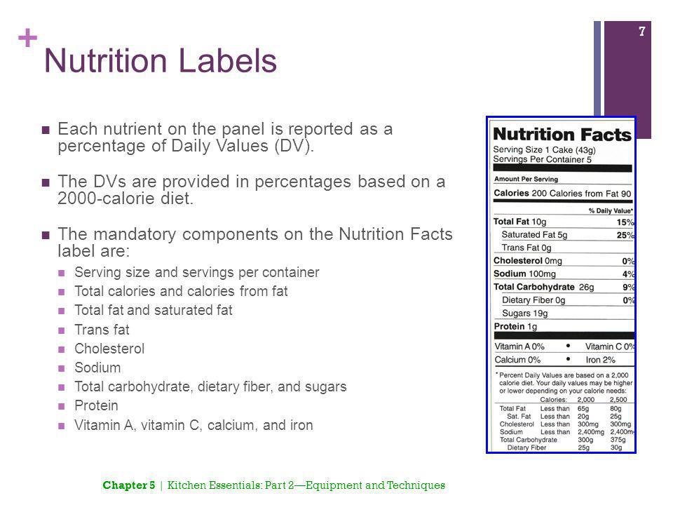 Nutrition Labels Each nutrient on the panel is reported as a percentage of Daily Values (DV).