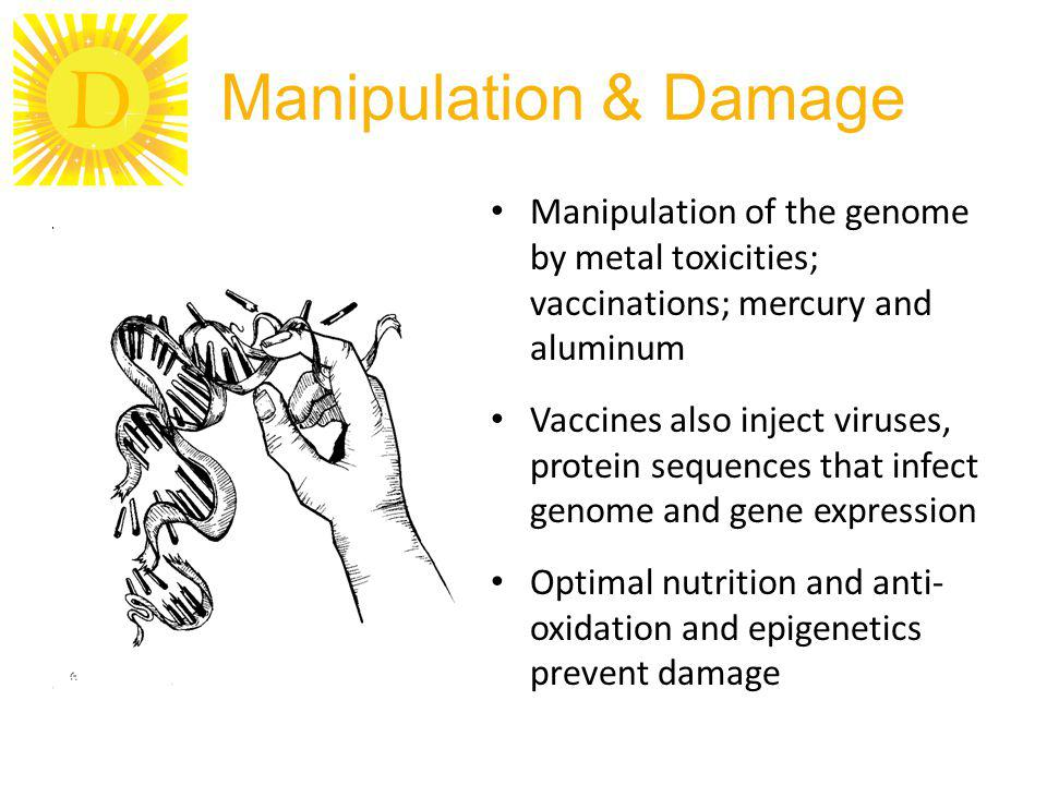 Manipulation & Damage Manipulation of the genome by metal toxicities; vaccinations; mercury and aluminum.