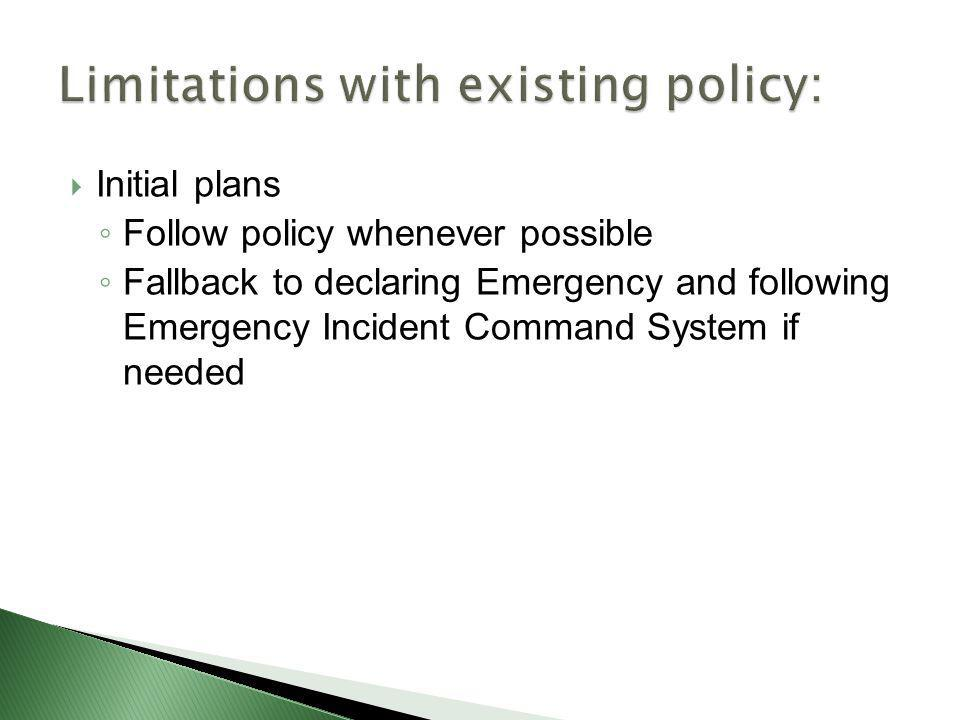 Limitations with existing policy: