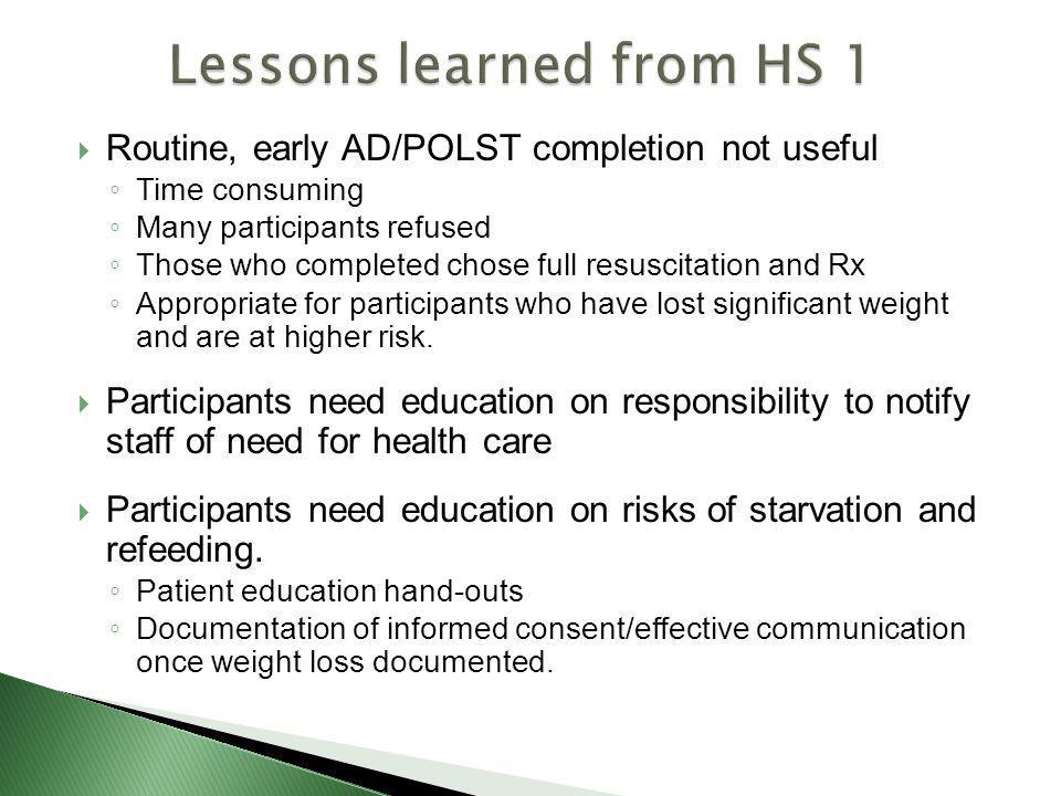 Lessons learned from HS 1