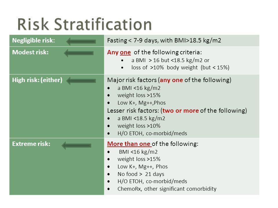 Risk Stratification Negligible risk: