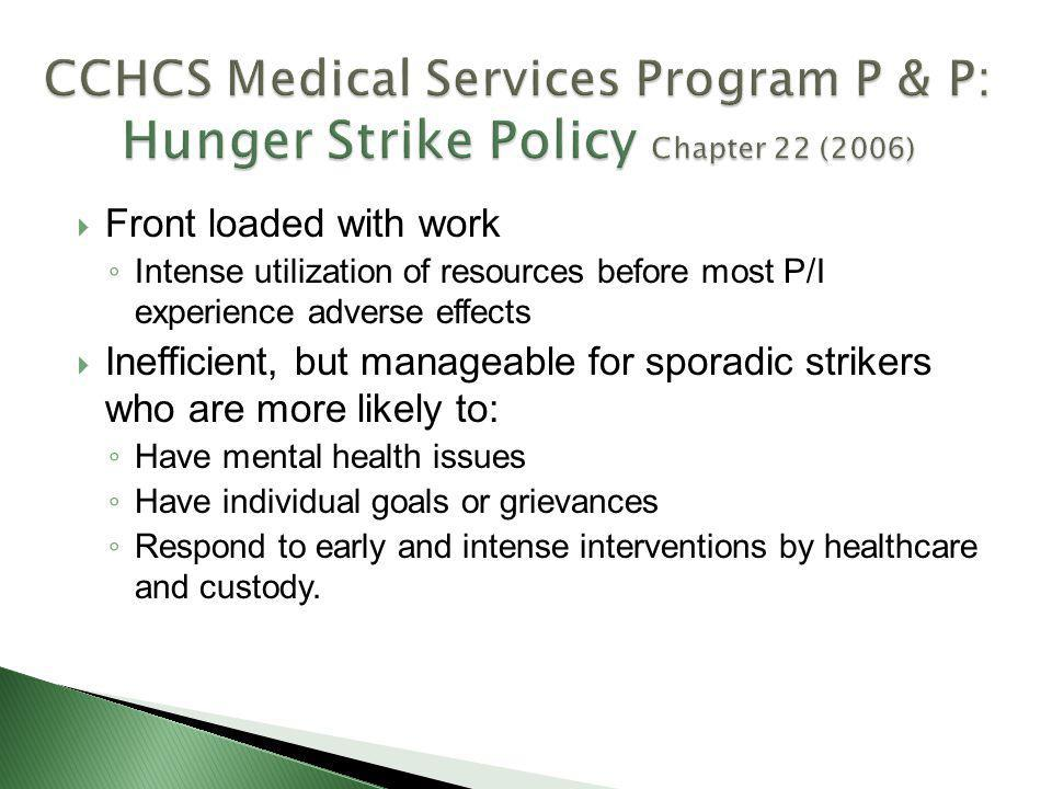 CCHCS Medical Services Program P & P: Hunger Strike Policy Chapter 22 (2006)