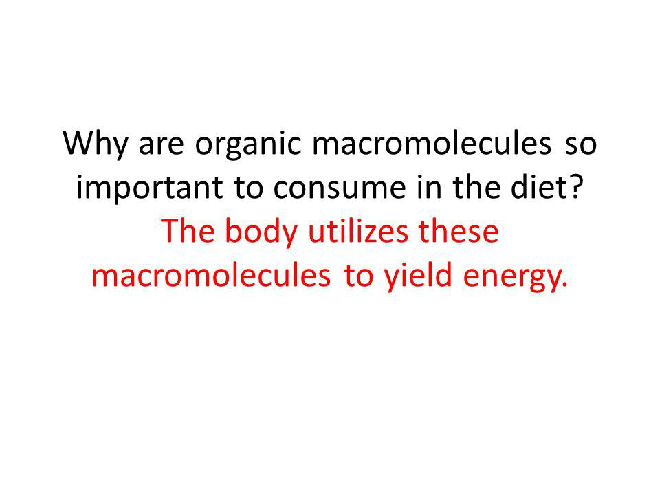 Why are organic macromolecules so important to consume in the diet