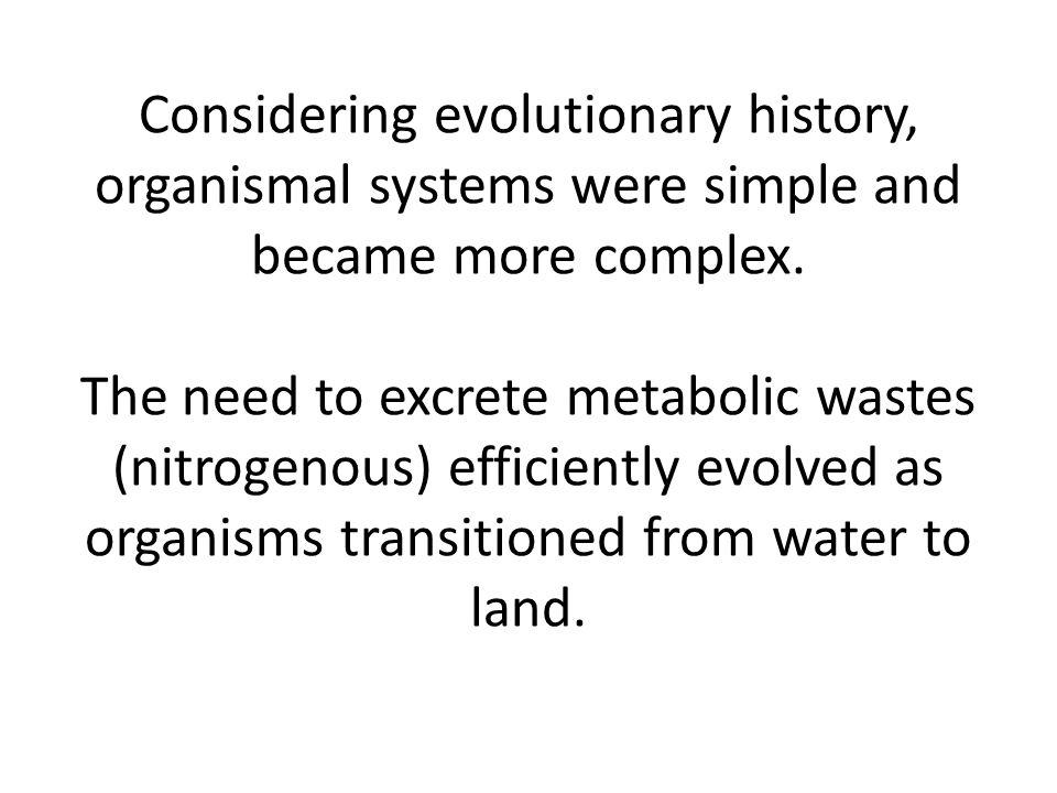 Considering evolutionary history, organismal systems were simple and became more complex.