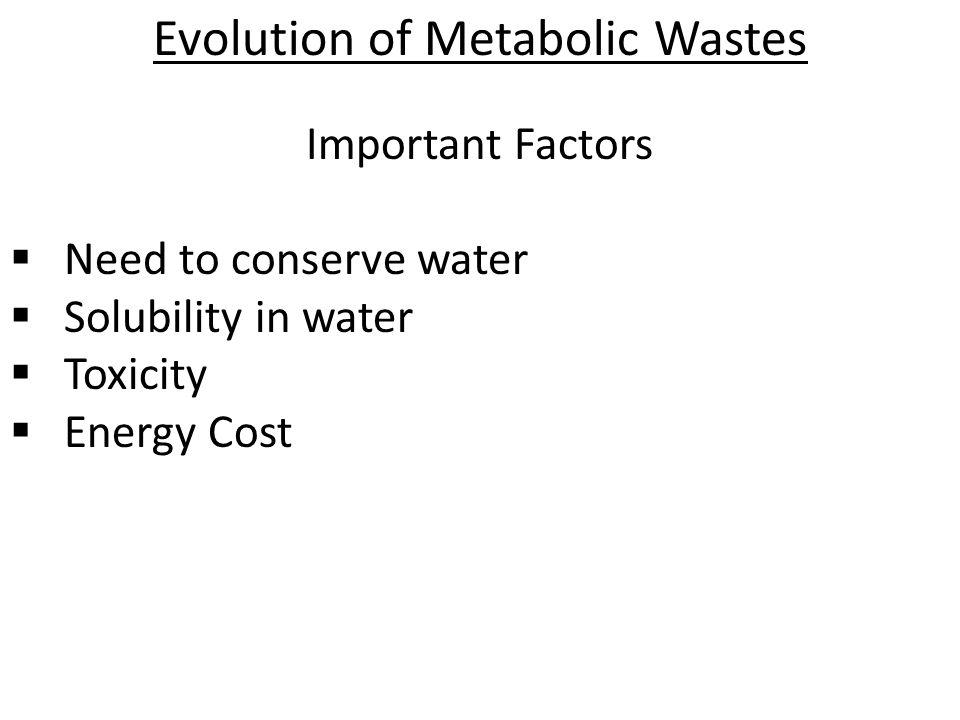 Evolution of Metabolic Wastes