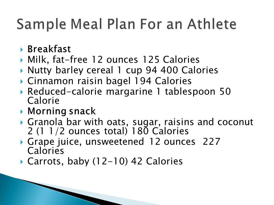 Sample Meal Plan For an Athlete