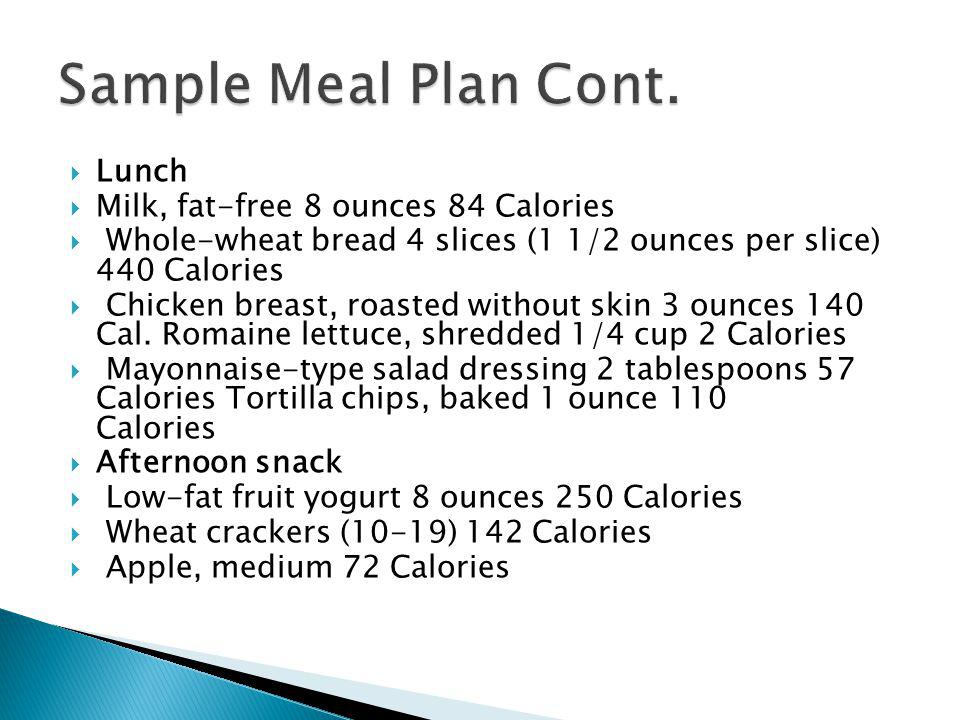 Sample Meal Plan Cont. Lunch Milk, fat-free 8 ounces 84 Calories