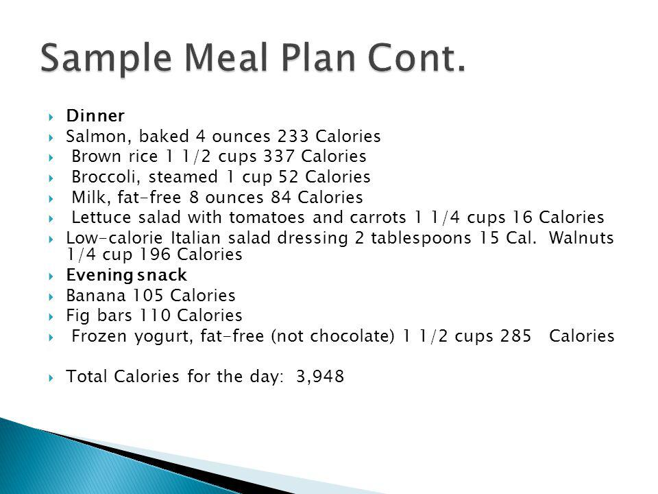 Sample Meal Plan Cont. Dinner Salmon, baked 4 ounces 233 Calories