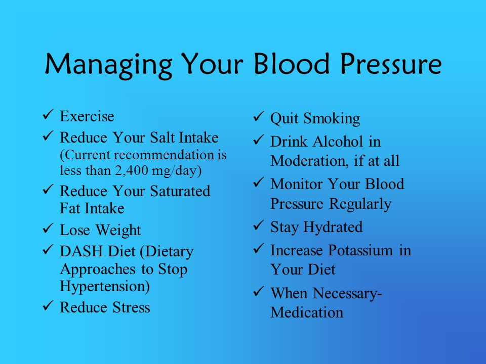 Managing Your Blood Pressure