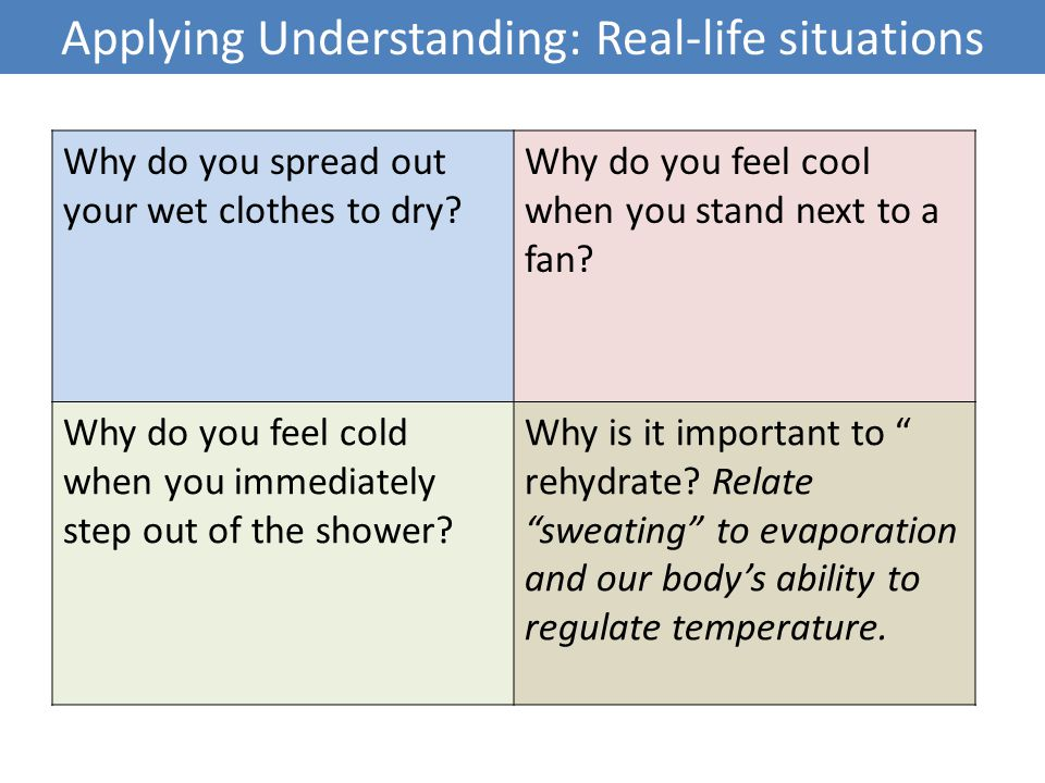 Applying Understanding: Real-life situations