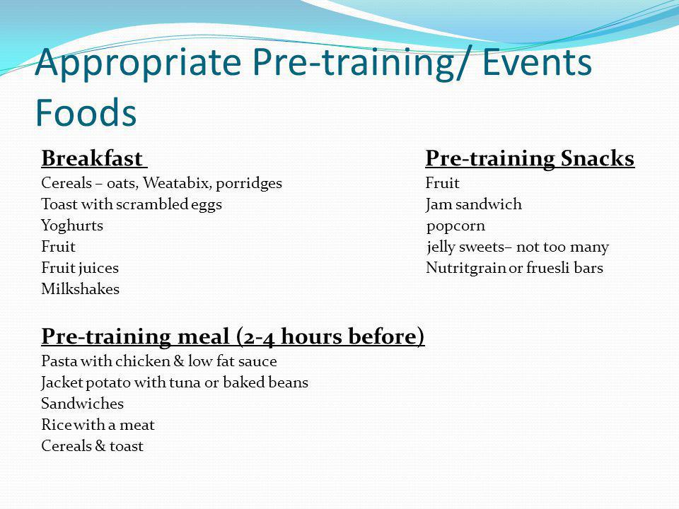 Appropriate Pre-training/ Events Foods