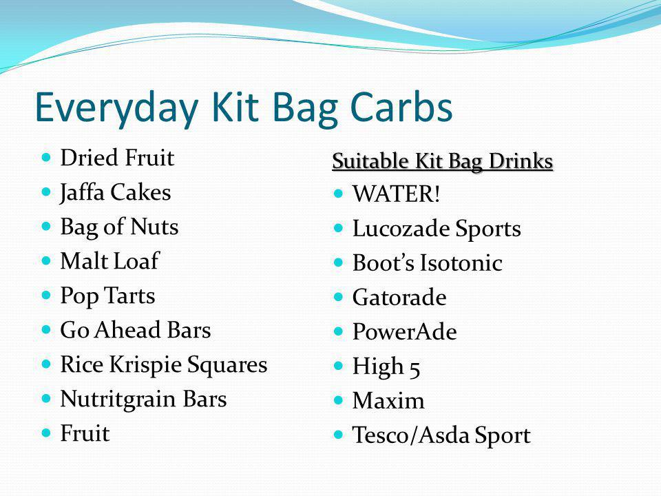 Everyday Kit Bag Carbs Dried Fruit Jaffa Cakes WATER! Bag of Nuts