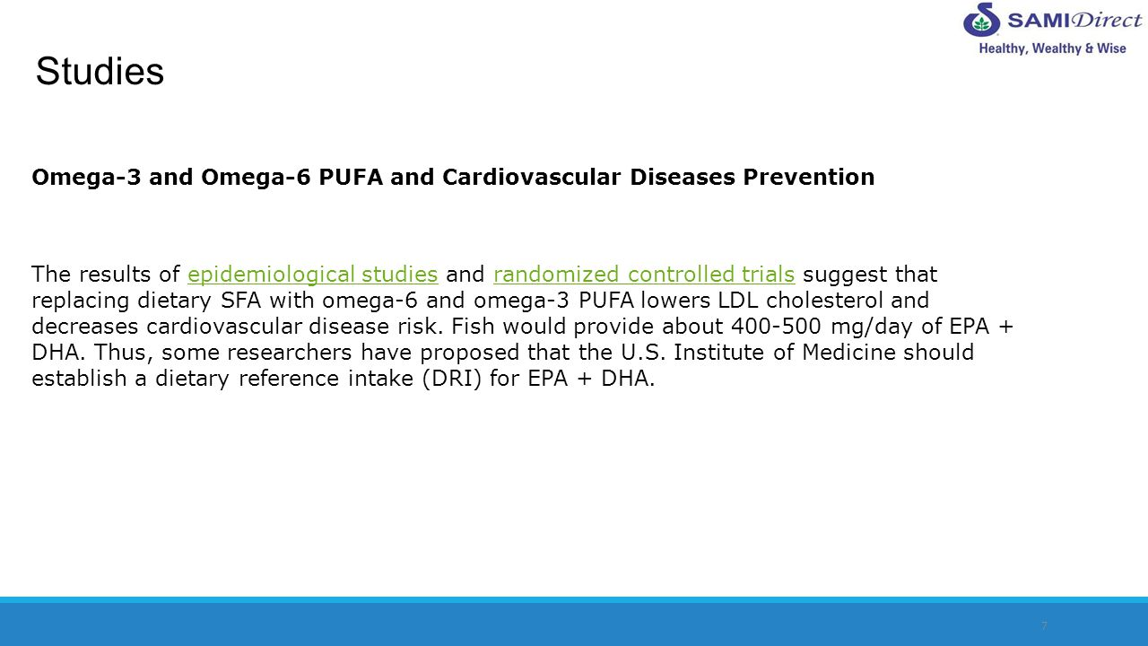 Studies Omega-3 and Omega-6 PUFA and Cardiovascular Diseases Prevention.