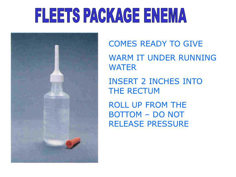 FLEETS PACKAGE ENEMA COMES READY TO GIVE WARM IT UNDER RUNNING WATER