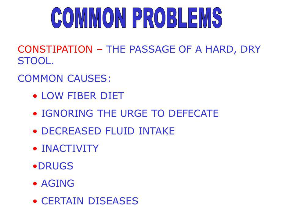 COMMON PROBLEMS CONSTIPATION – THE PASSAGE OF A HARD, DRY STOOL.