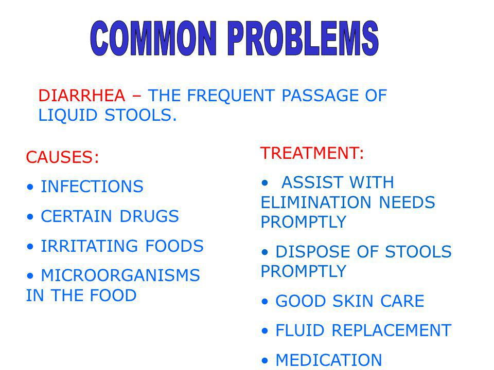 COMMON PROBLEMS DIARRHEA – THE FREQUENT PASSAGE OF LIQUID STOOLS.