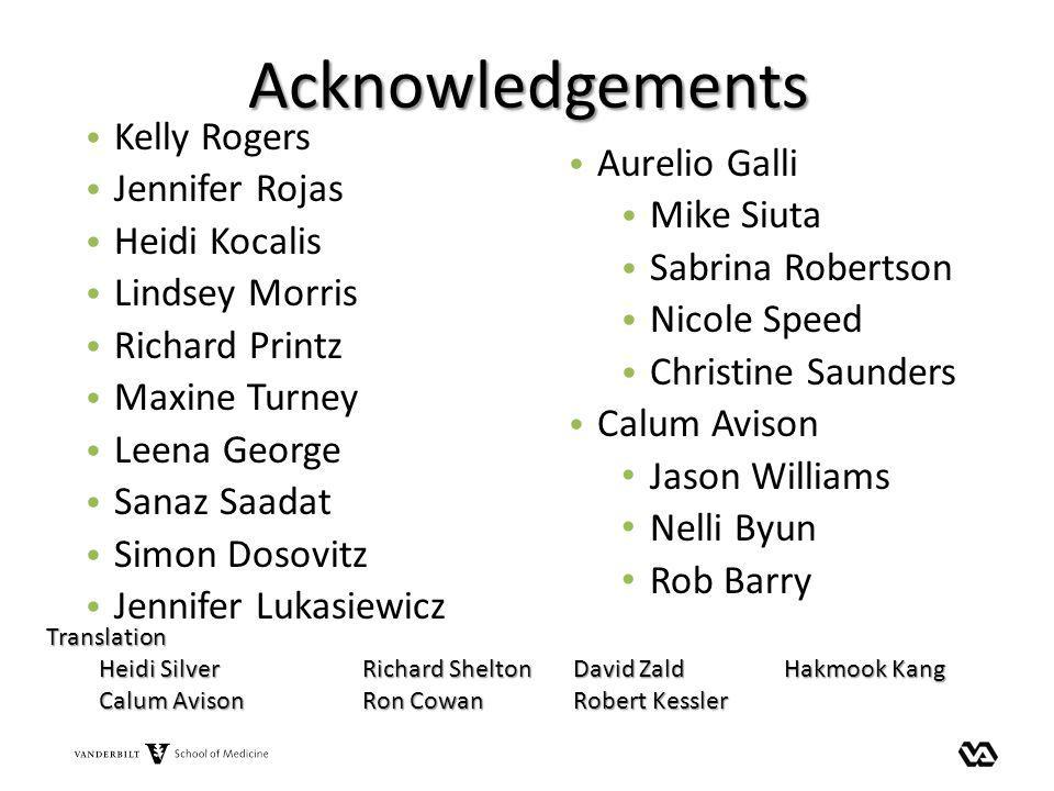Acknowledgements Kelly Rogers Jennifer Rojas Heidi Kocalis