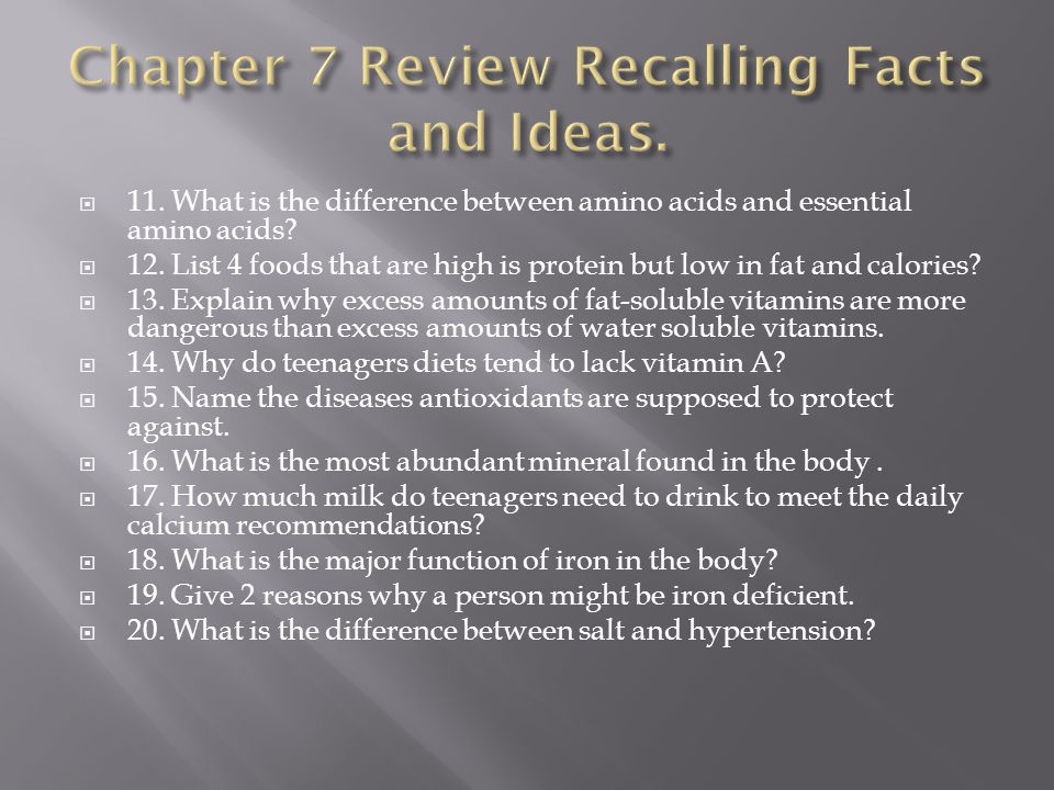 Chapter 7 Review Recalling Facts and Ideas.