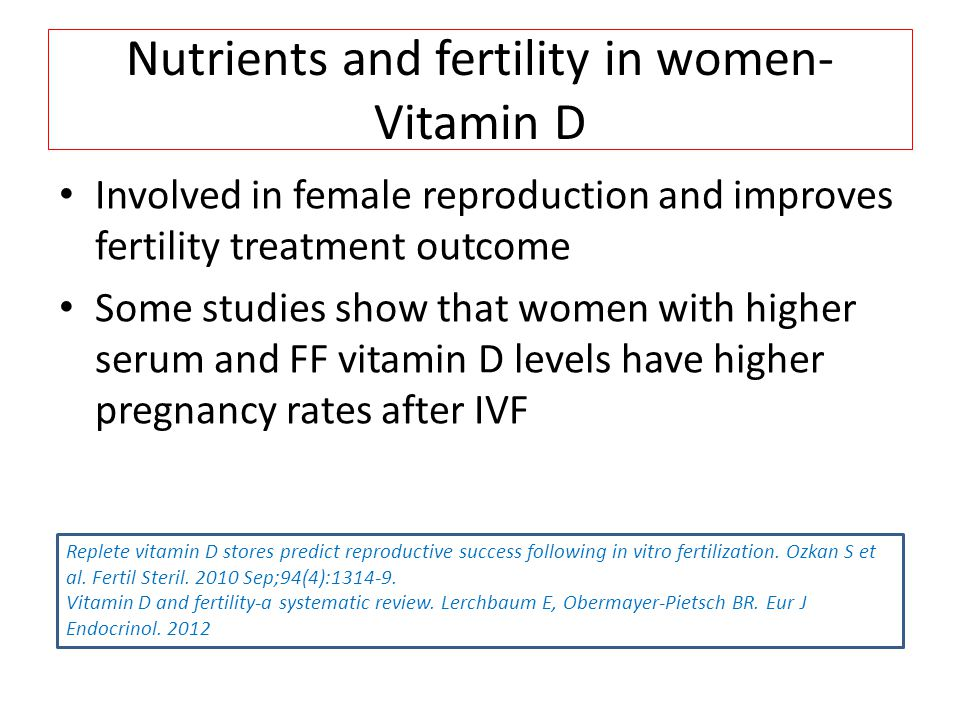 Nutrients and fertility in women- Vitamin D