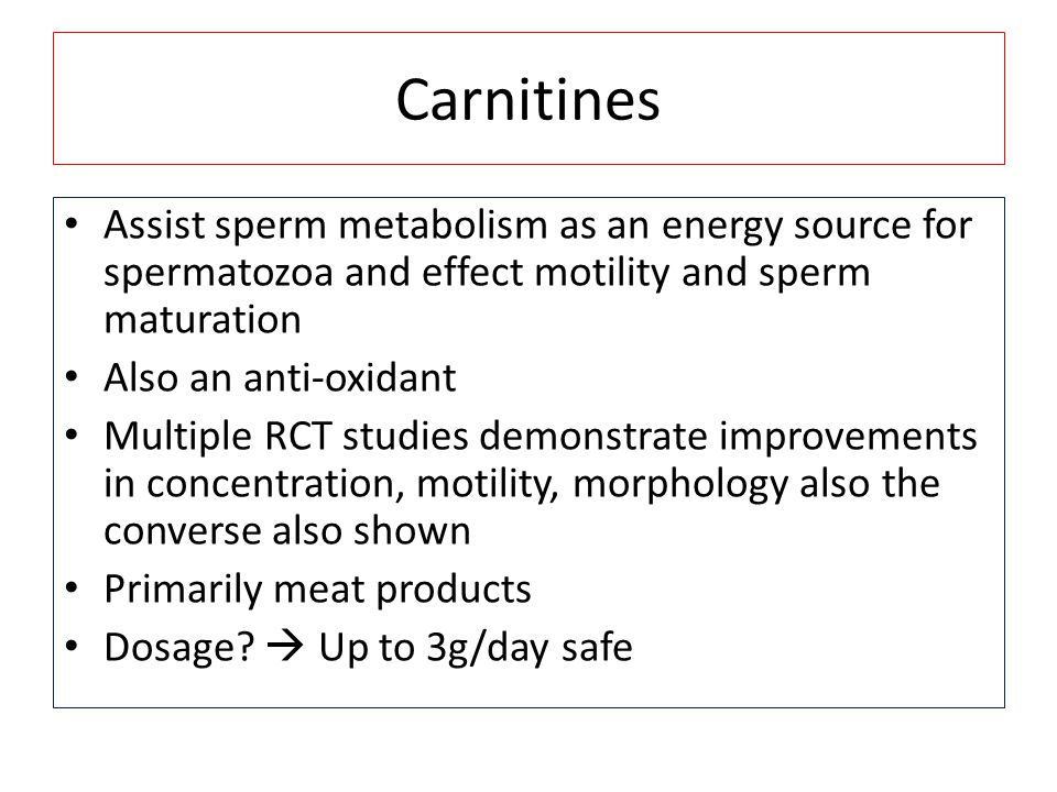 Carnitines Assist sperm metabolism as an energy source for spermatozoa and effect motility and sperm maturation.