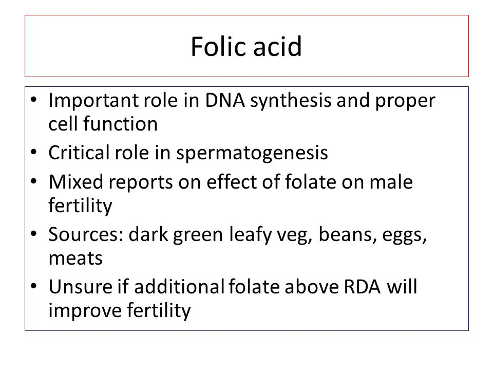 Folic acid Important role in DNA synthesis and proper cell function