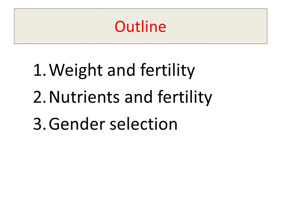 Nutrients and fertility Gender selection