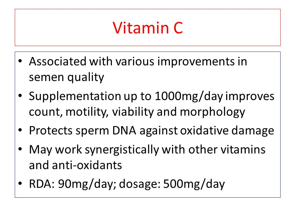 Vitamin C Associated with various improvements in semen quality