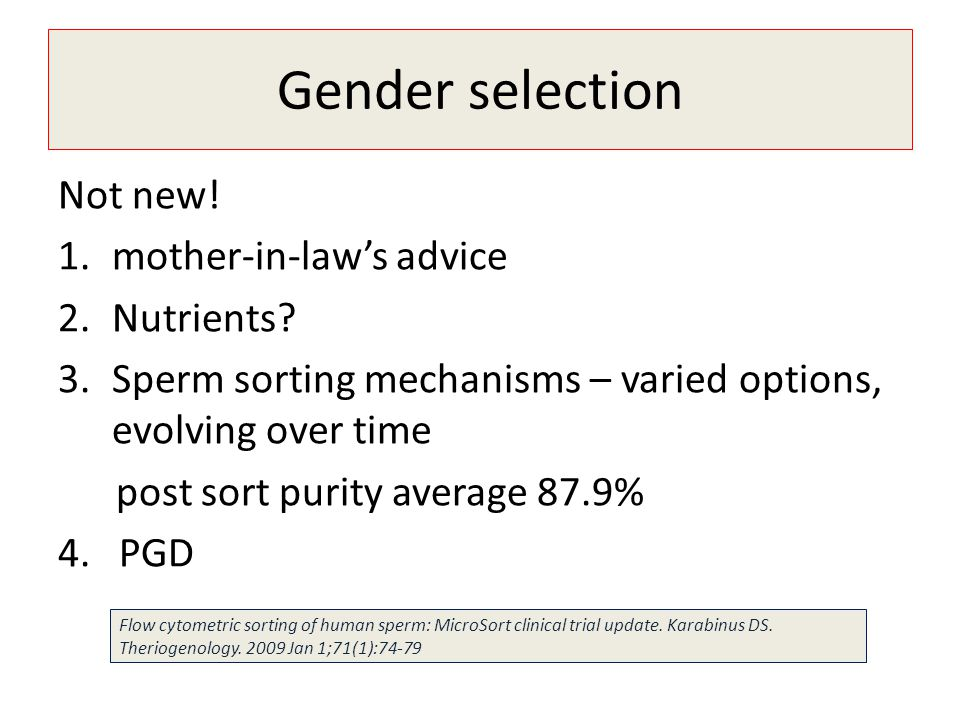 Gender selection Not new! mother-in-law's advice Nutrients