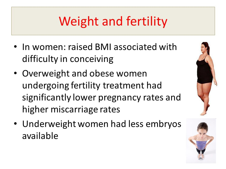 Weight and fertility In women: raised BMI associated with difficulty in conceiving.
