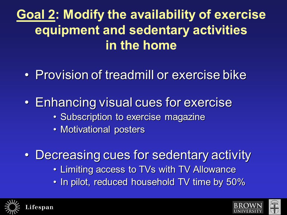 Provision of treadmill or exercise bike