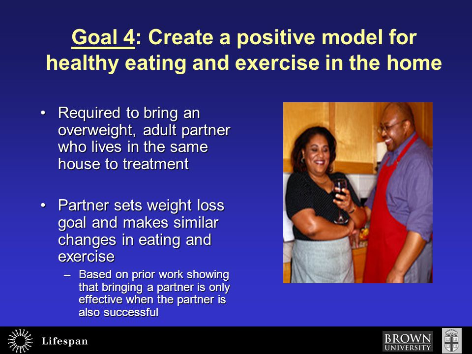 Goal 4: Create a positive model for healthy eating and exercise in the home