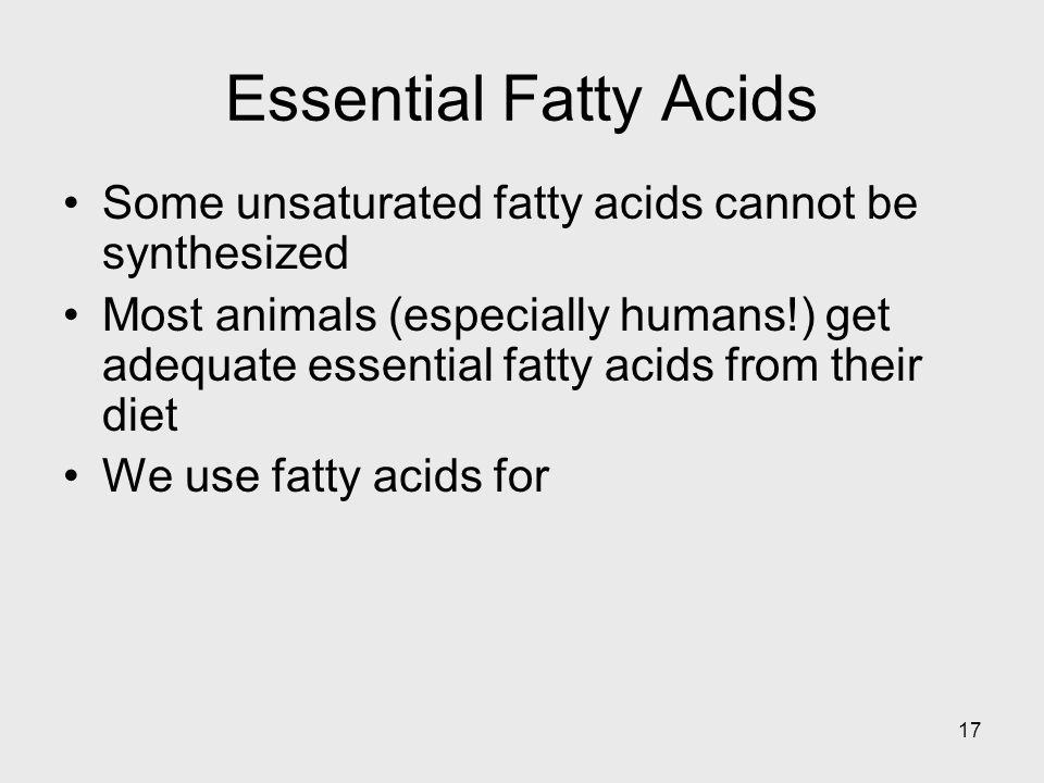 Essential Fatty Acids Some unsaturated fatty acids cannot be synthesized.