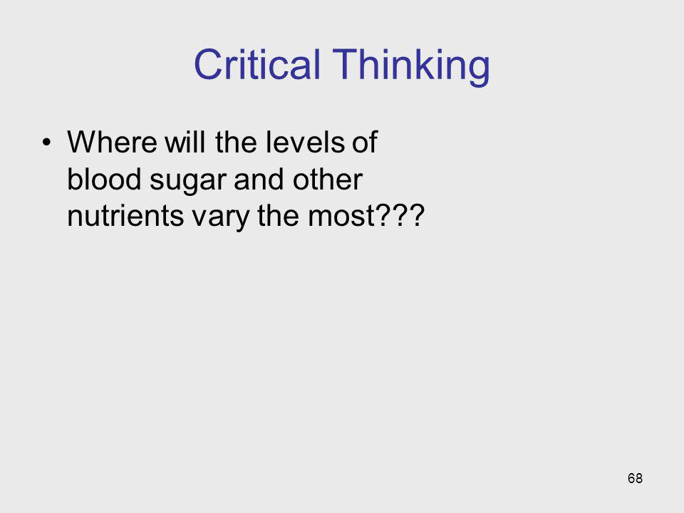 Critical Thinking Where will the levels of blood sugar and other nutrients vary the most