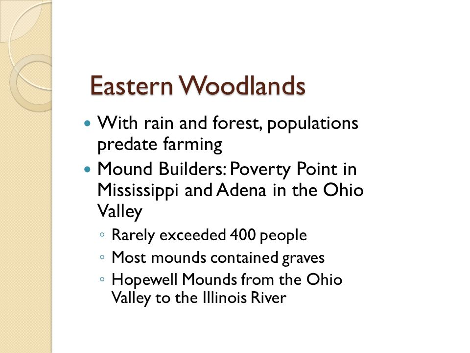 Eastern Woodlands With rain and forest, populations predate farming