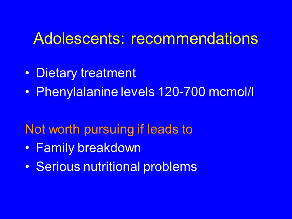 Adolescents: recommendations