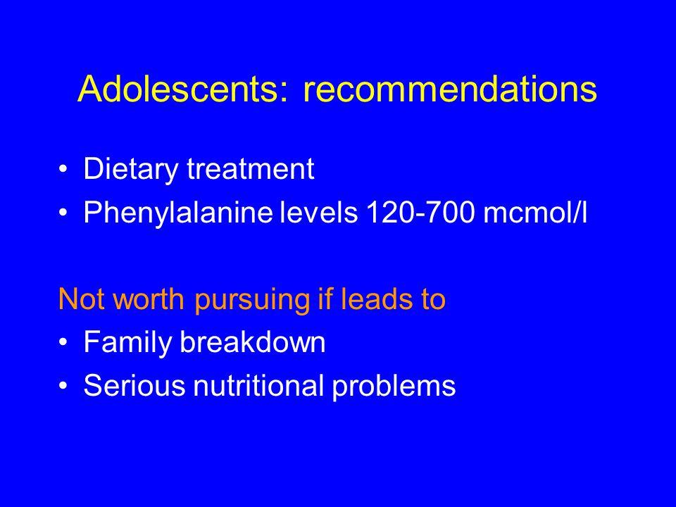 Adolescents: recommendations