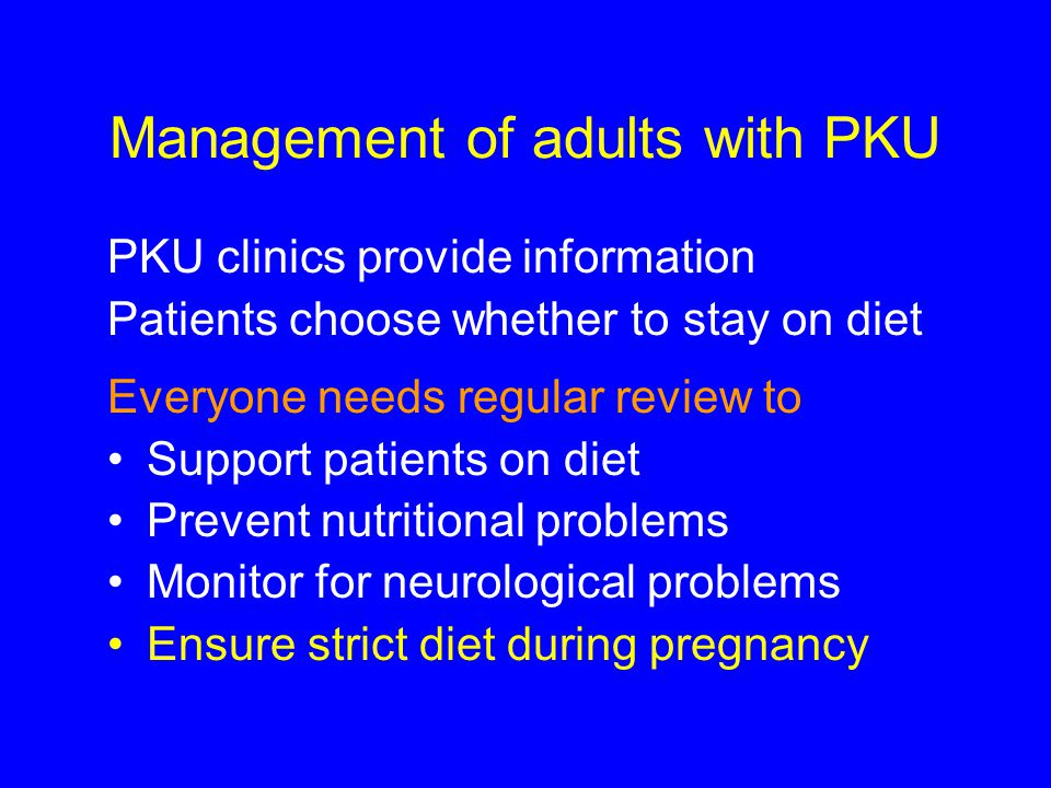 Management of adults with PKU