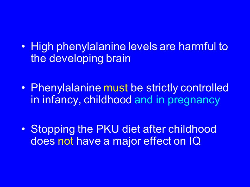 High phenylalanine levels are harmful to the developing brain