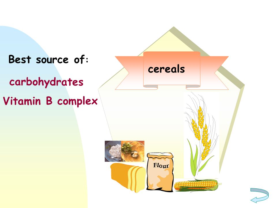 Best source of: cereals carbohydrates Vitamin B complex