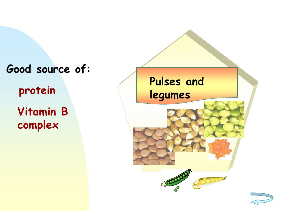 Good source of: Pulses and legumes protein Vitamin B complex