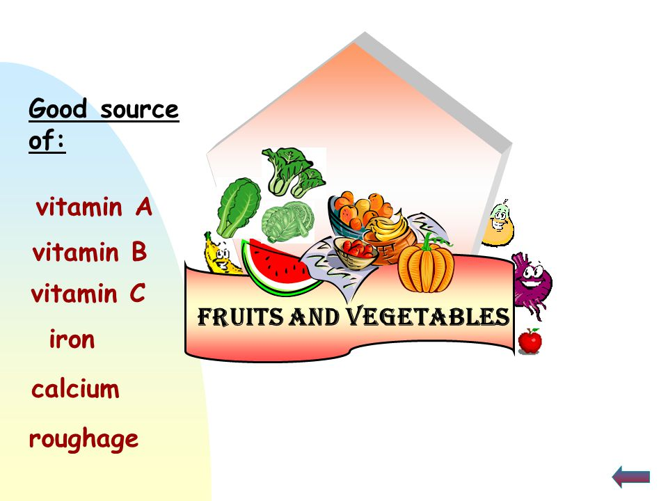 Good source of: vitamin A vitamin B vitamin C Fruits and Vegetables iron calcium roughage