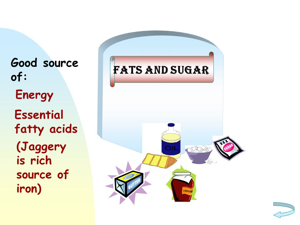 Good source of: Fats and sugar Energy Essential fatty acids (Jaggery is rich source of iron)