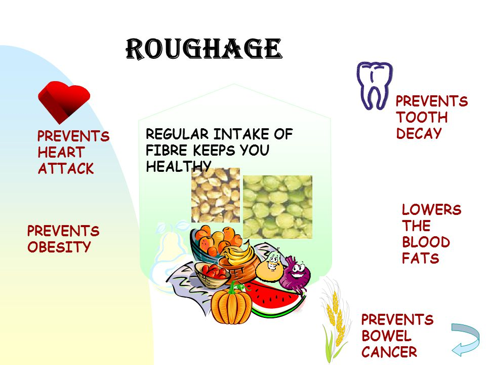 roughage PREVENTS TOOTH DECAY