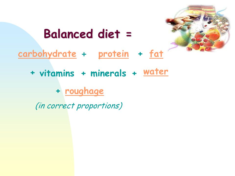 Balanced diet = + carbohydrate protein + fat + water vitamins +