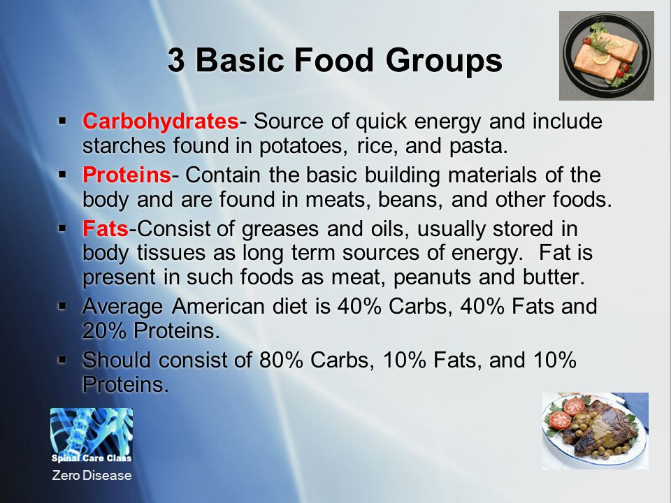 3 Basic Food Groups Carbohydrates- Source of quick energy and include starches found in potatoes, rice, and pasta.