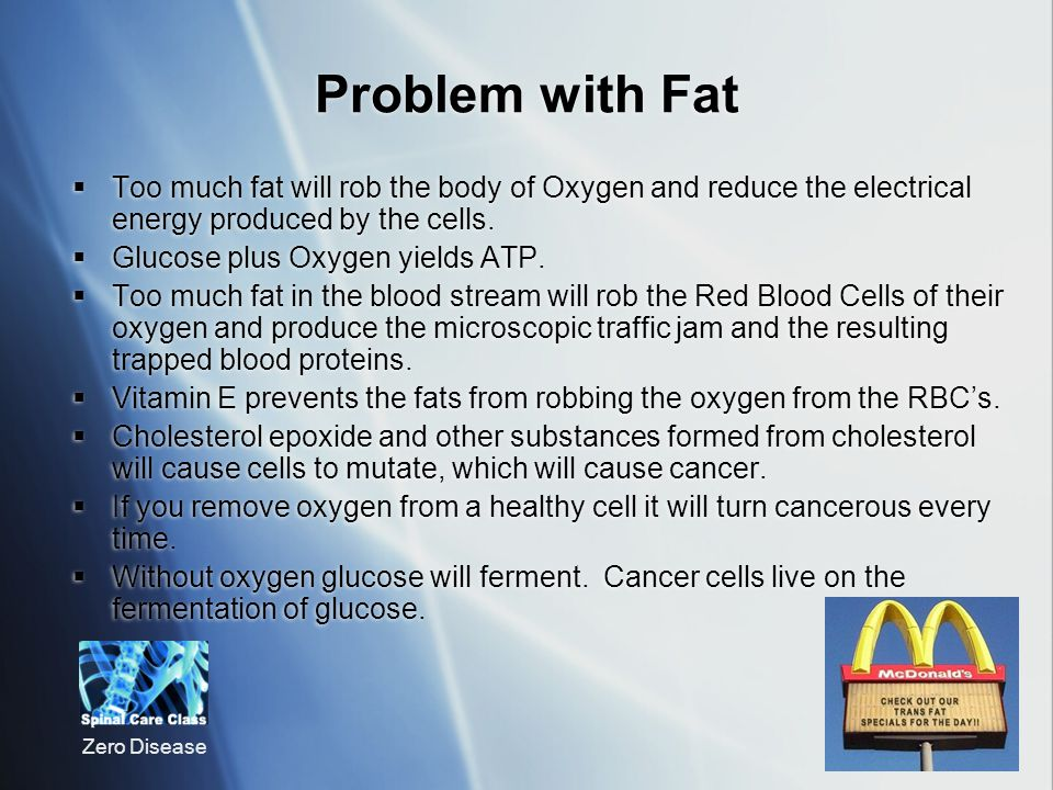 Problem with Fat Too much fat will rob the body of Oxygen and reduce the electrical energy produced by the cells.