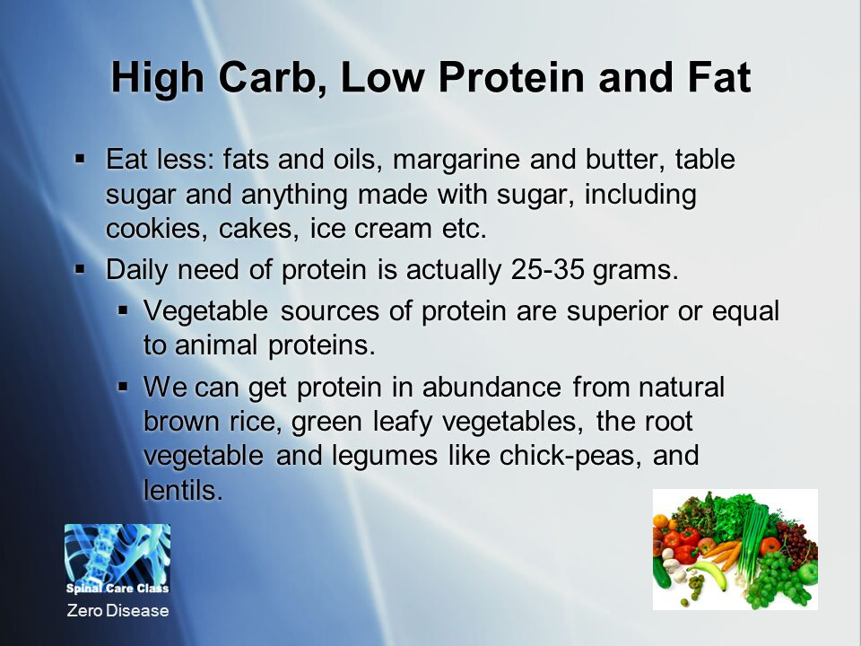 High Carb, Low Protein and Fat